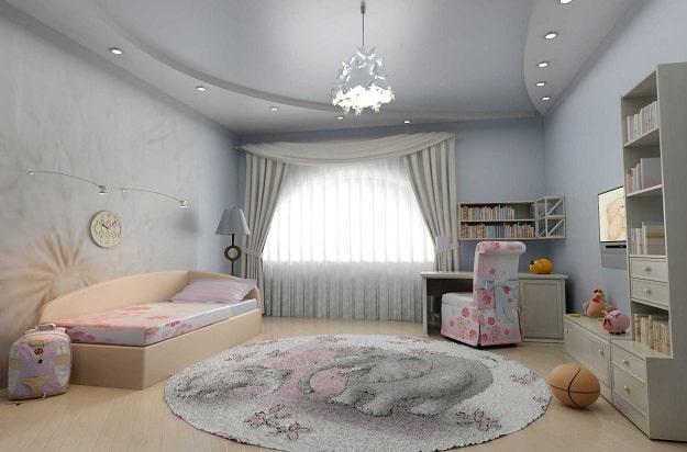 Двухуровневый матовый натяжной потолок в детской